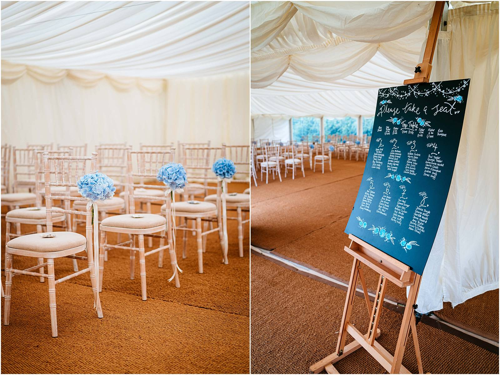 marquee wedding with blue flowers by boutique blooms
