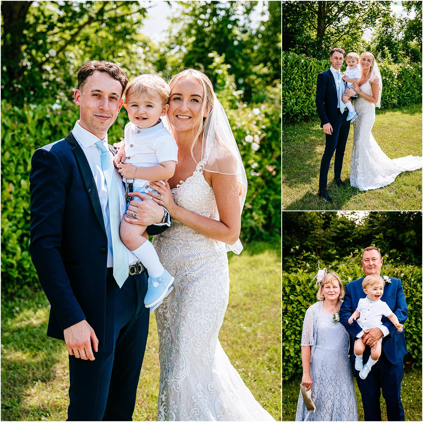 Bride and groom and young son