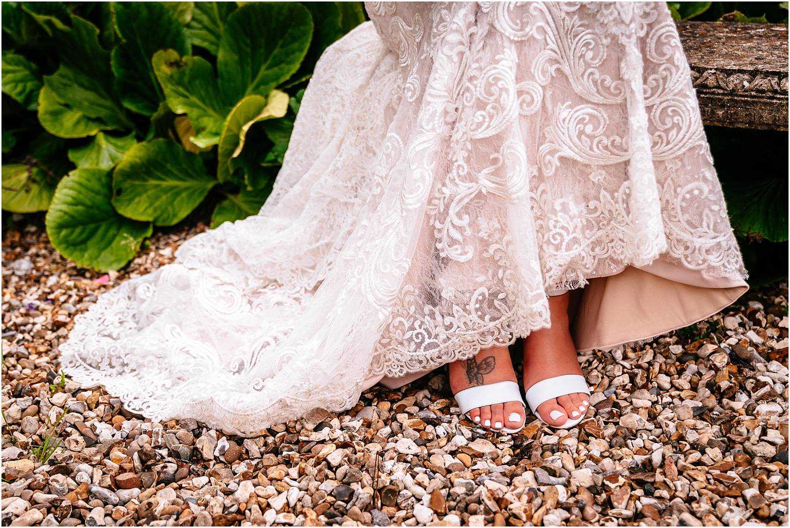 brides shoes on gravel