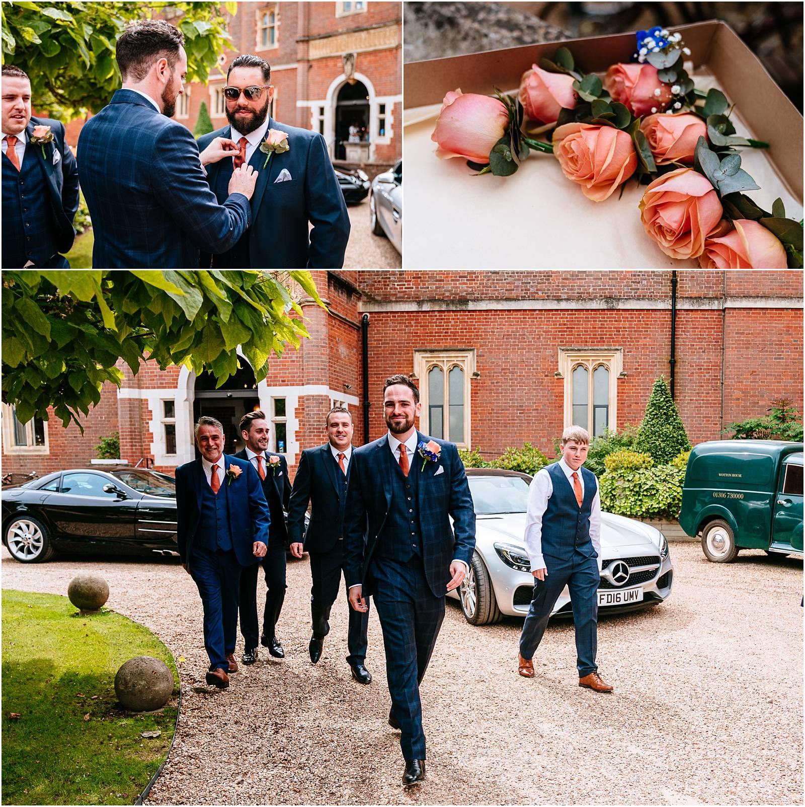 ushers and groom before wedding