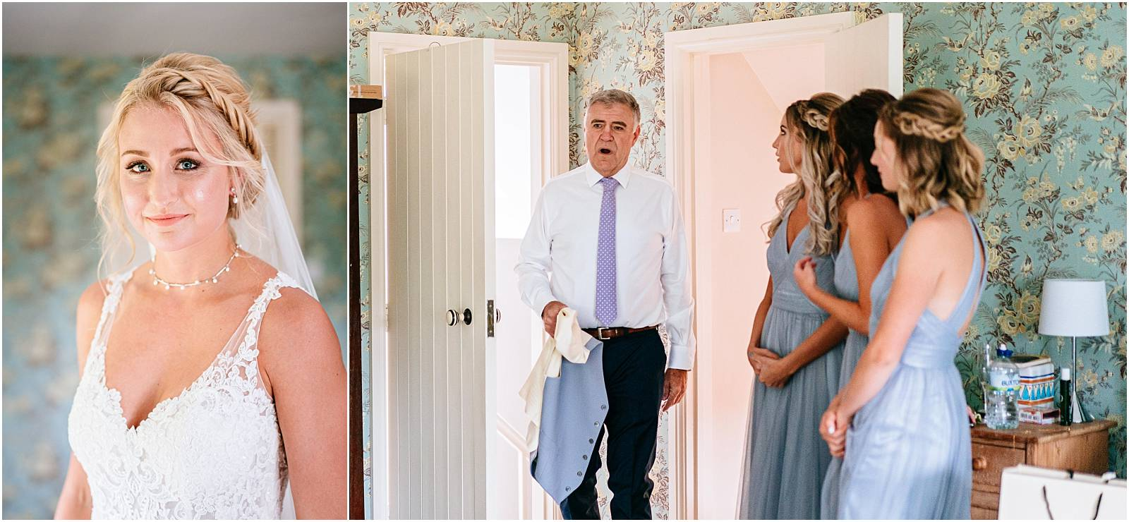father gasps as sees bride for the first time