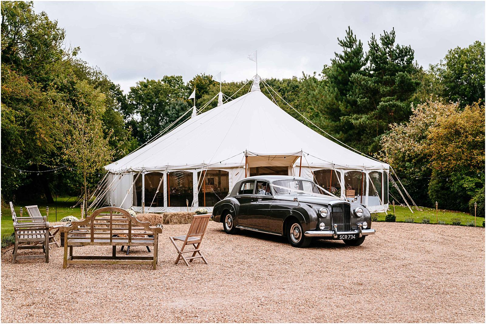 wigwam marquee and fancy cars