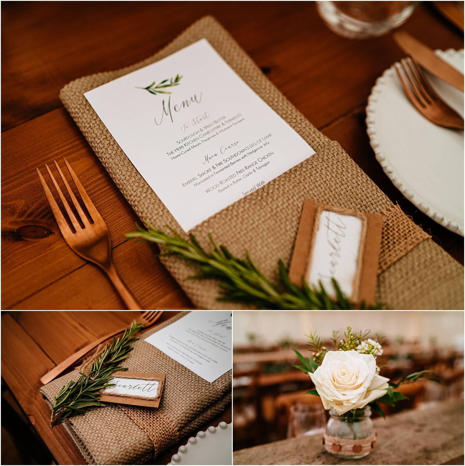 annie fern wedding styling with gold cutlery