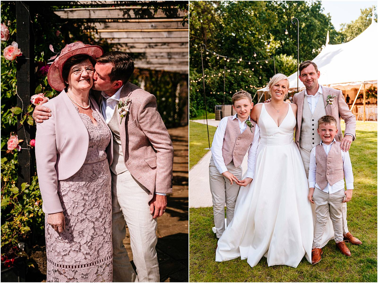 family photographs at marquee wedding