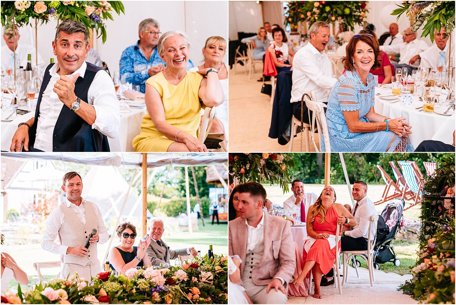 candid wedding photographs of guests during speeches