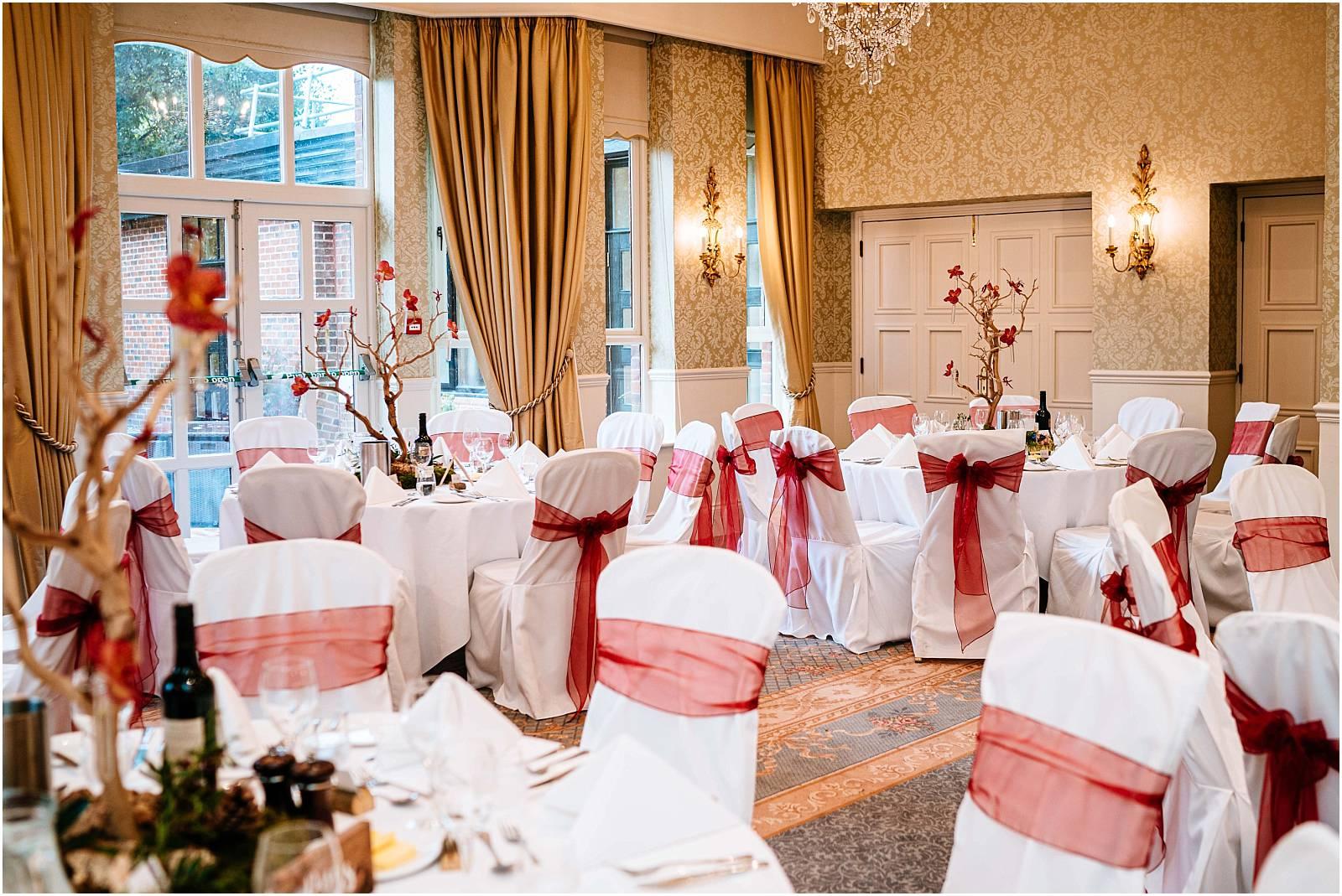 careys manor wedding details set up for wedding breakfast