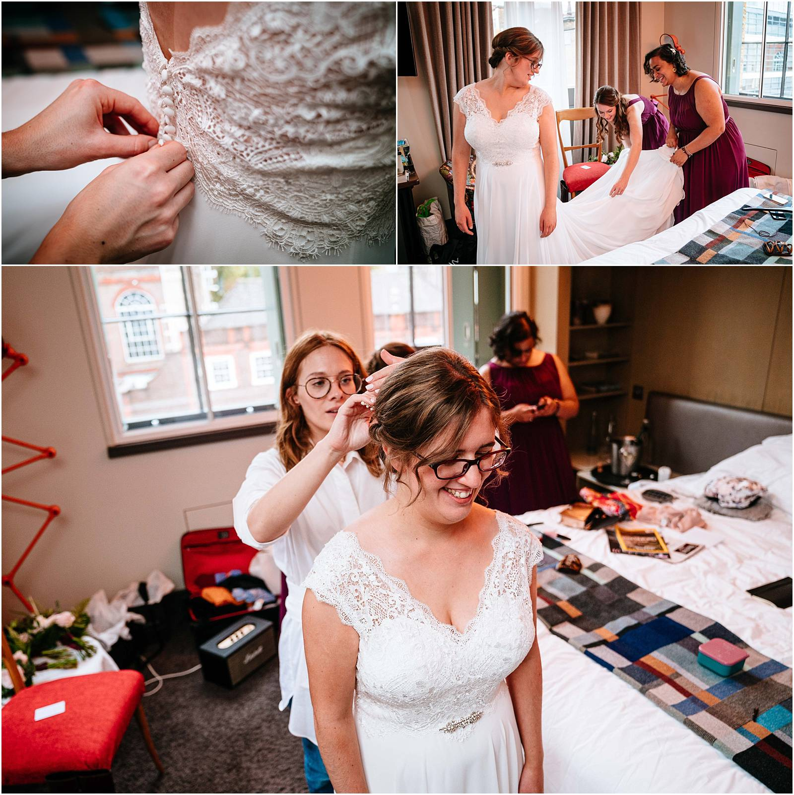 bride getting ready at zetter hotel