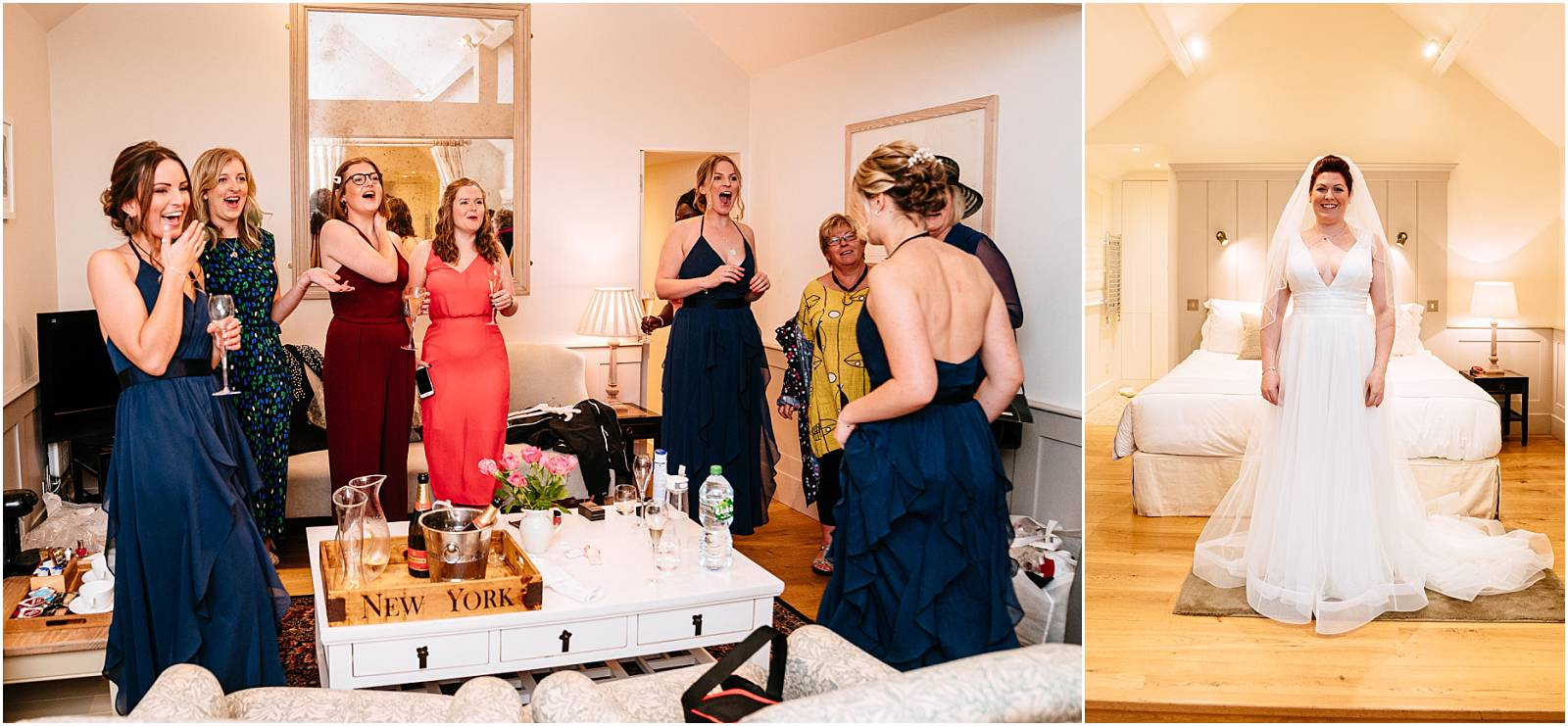 first look with bridesmaids and mum