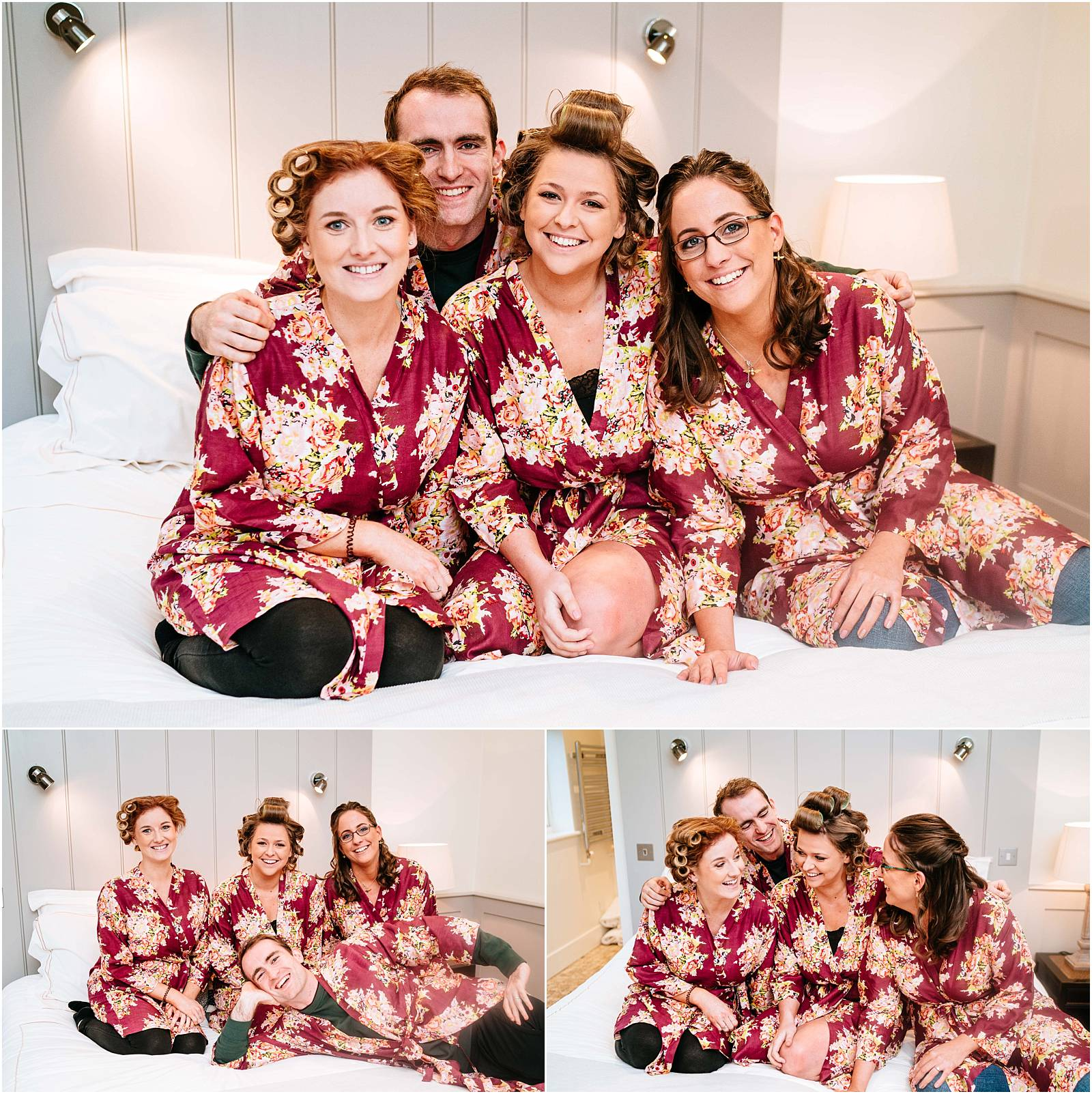bridesmaids and bride man in matching robes