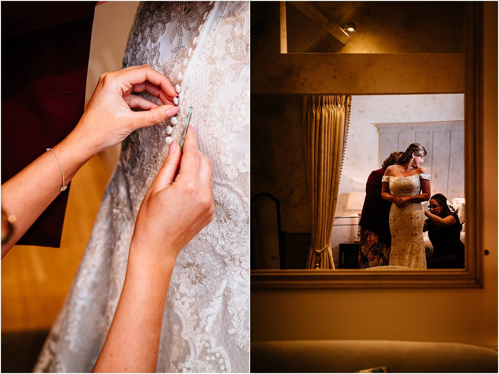 doing up dress in farbridge wedding suite
