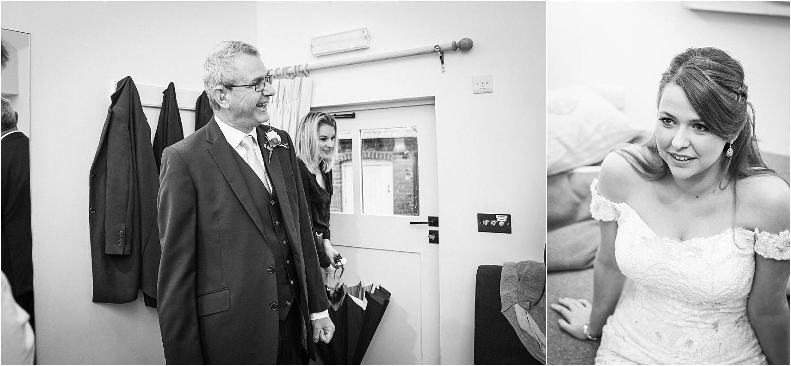 father of bride sees bride for first time on her wedding day