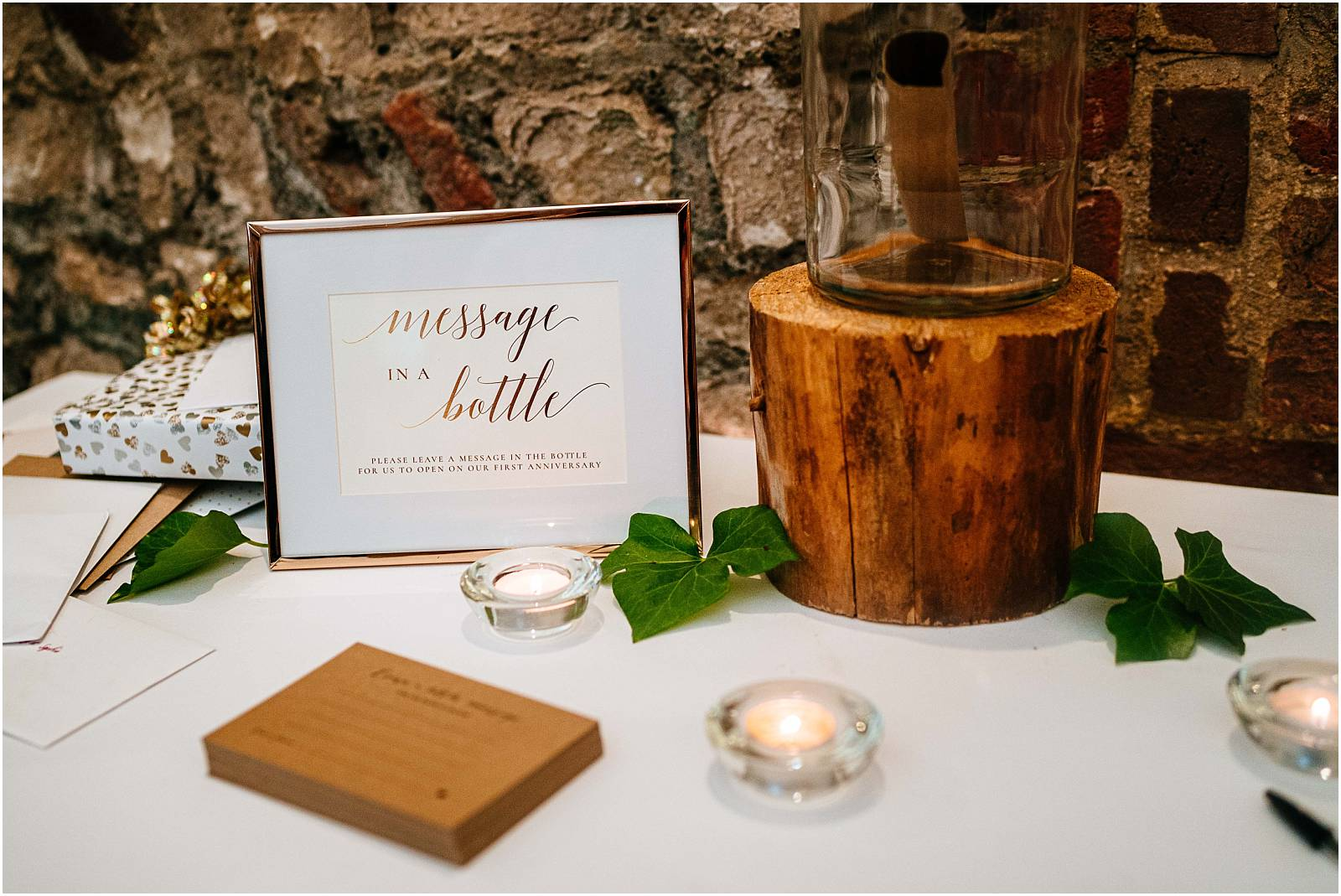 message in bottle at wedding
