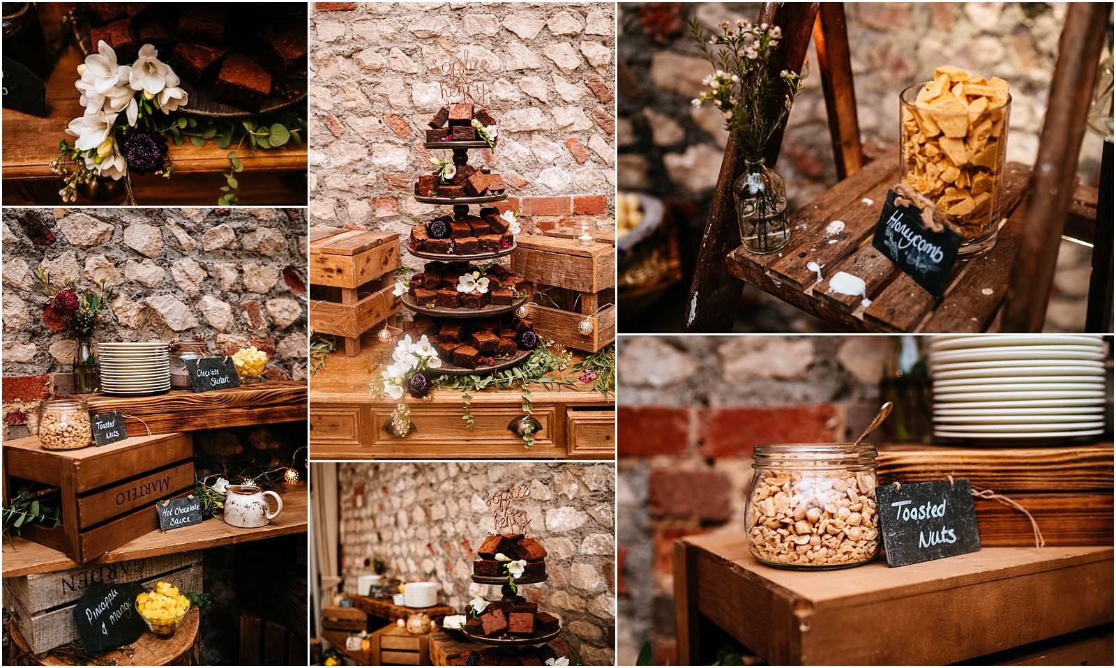 brownie wedding cake dessert table