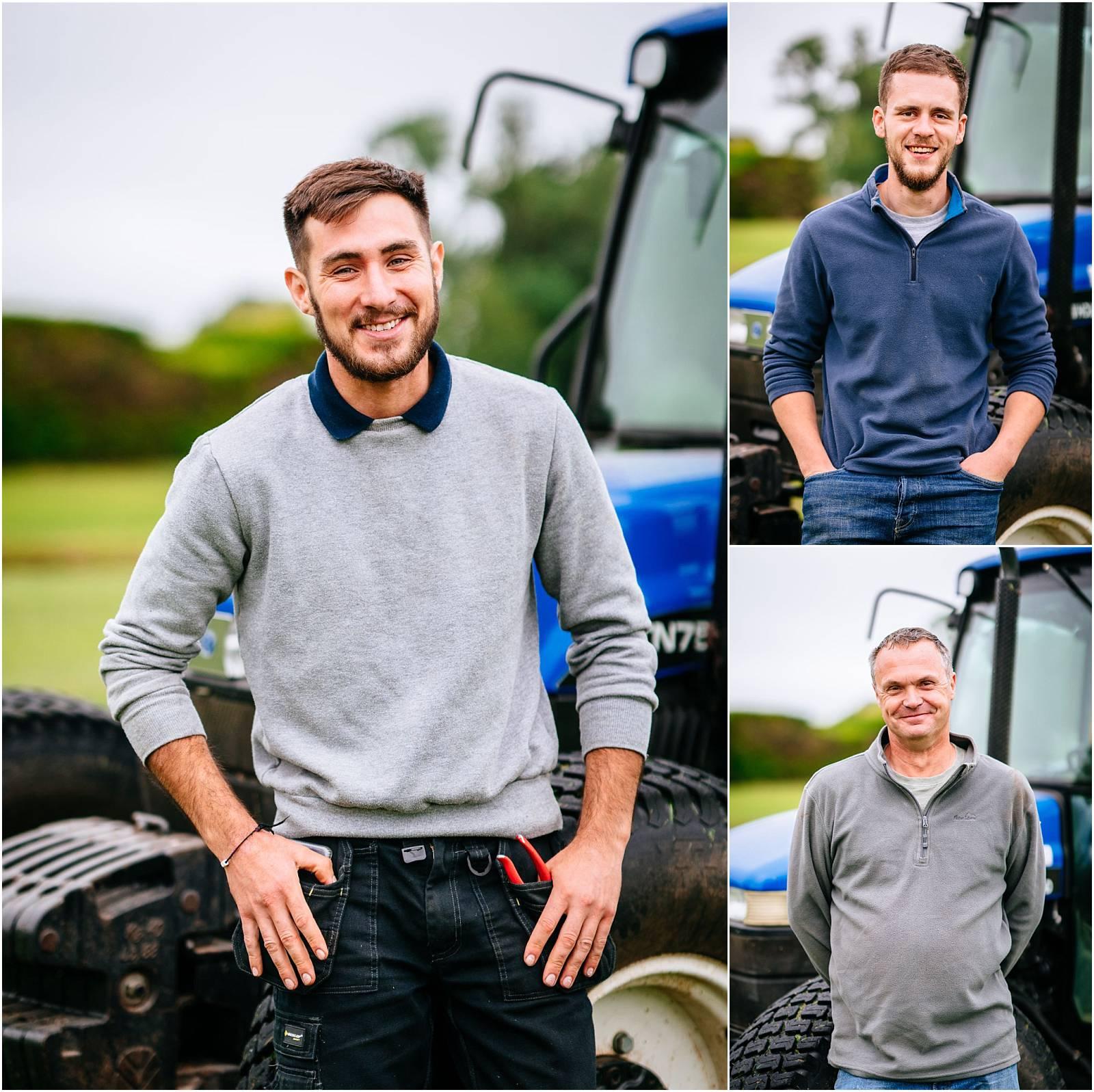 men and tractor portraits