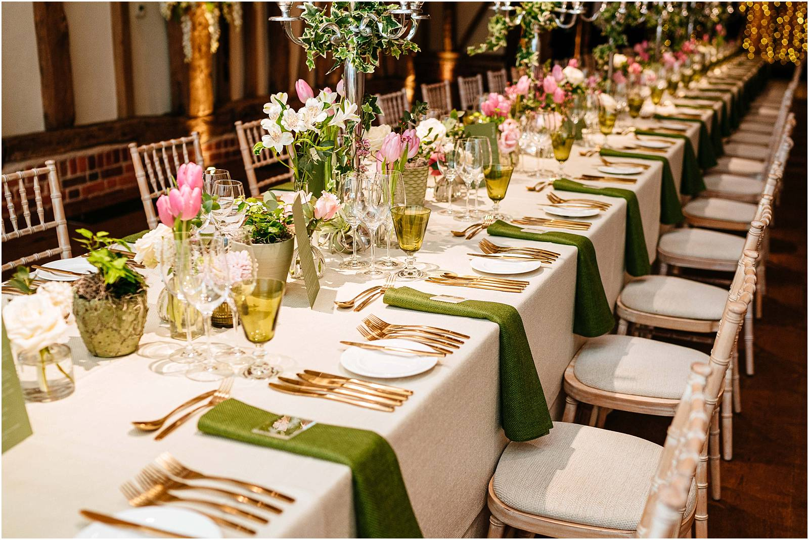 green wedding linen