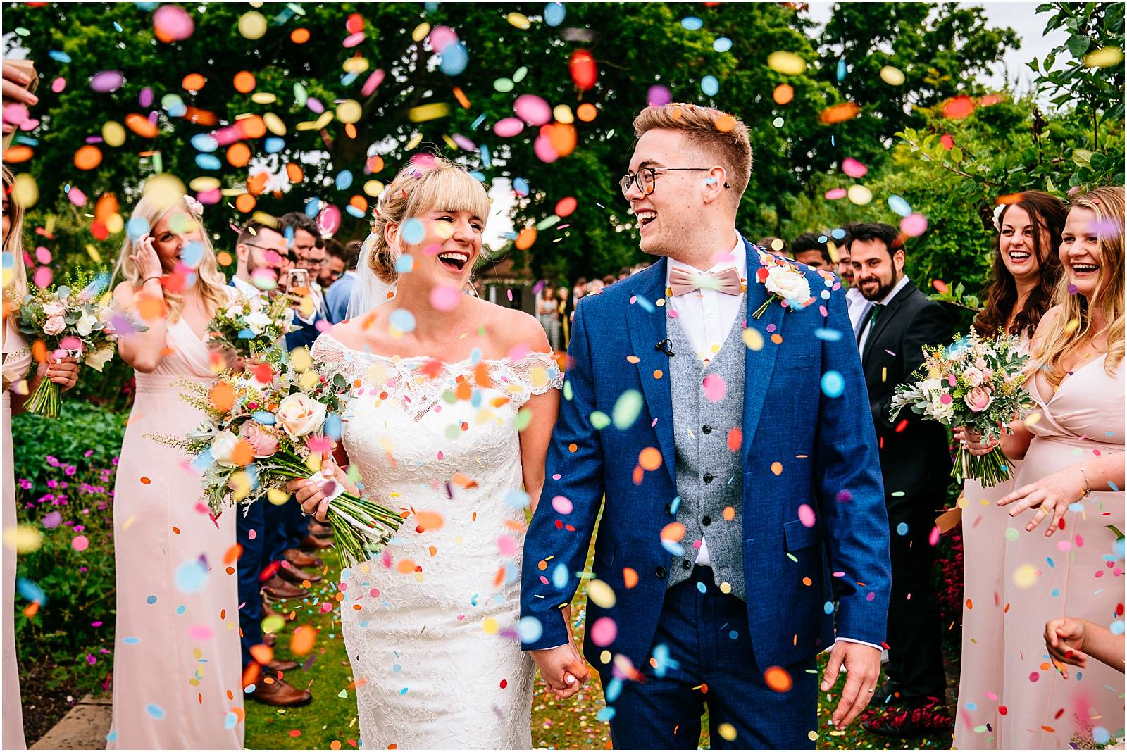 rainbow confetti at micklefield wedding