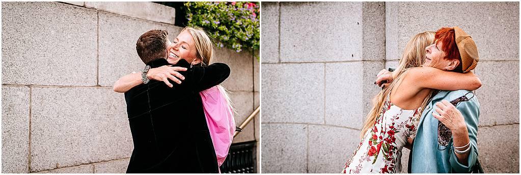 Hugs outside chelsea registry office