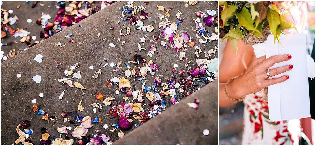confetti on steps of chelsea registry office
