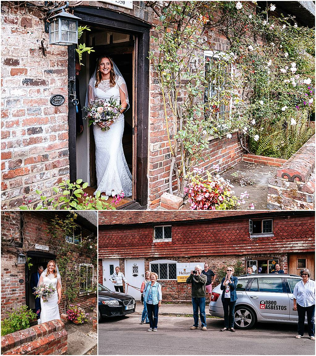 bride emerges from cottage in chawton to be greeted by local villagers